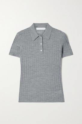 Dion Lee Ribbed Merino Wool Polo Shirt - Gray