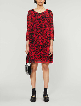 Claudie Pierlot Puffed-sleeve leopard-print crepe mini dress