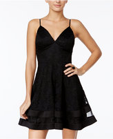 City Studios Juniors' Lace Illusion-Hem Fit & Flare Dress