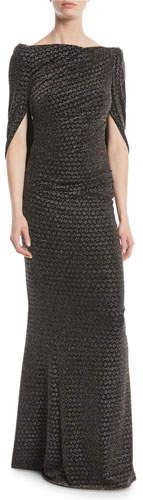 Talbot Runhof Konica Wide-Neck Arm-Slit Metallic-Jacquard Evening Gown