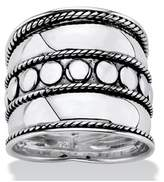 Seta Jewelry Bali Bohemian Wide Cigar Band-style Ring Band In Antiqued .925 Sterling Silver With Rope Detailing.