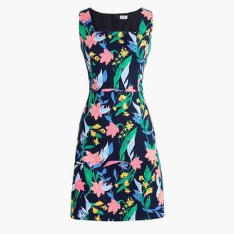 J.Crew Floral basketweave square-neck dress