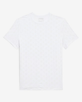 Express White All-Over Logo Moisture-Wicking Graphic T-Shirt