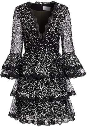 Marchesa Sequin Tiered Ruffle Dress