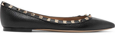 Valentino The Rockstud Textured-leather Point-toe Flats