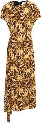 Victoria Beckham Draped Printed Crepe Midi Dress