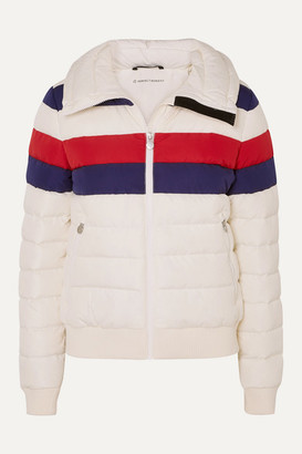 Perfect Moment Queenie Merino Wool-trimmed Striped Quilted Down Ski Jacket - Ecru
