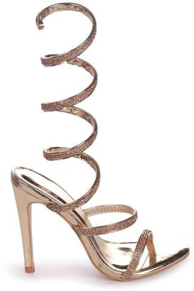 Linzi Marcie Gold Structured Spiral Wrap Around Heels