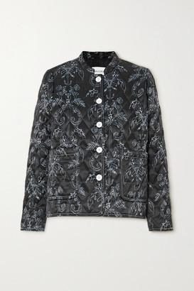 MINJUKIM Quilted Printed Satin Jacket - Black