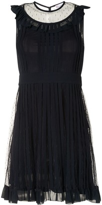 RED Valentino Tulle Panel Pleated Dress
