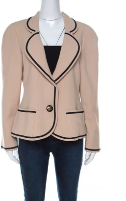 Chanel Boutique Beige Crepe Contrast Trim Single Button Blazer M