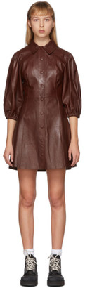Ganni Brown Leather Short Dress