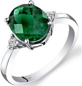 Ice 2 3/5 CT TW Lab-Created Emerald 14K White Gold 3-Stone Ring with Diamond Accents