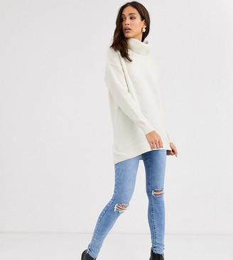 New Look Tall knited roll neck jumper in cream