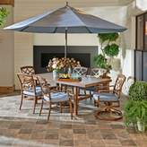 Trisha Yearwood Home Outdoor 8-Piece Dining Set in Demo Denim with 11-Foot Umbrella