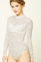 Forever 21 FOREVER 21+ Semi-Sheer Lace Bodysuit