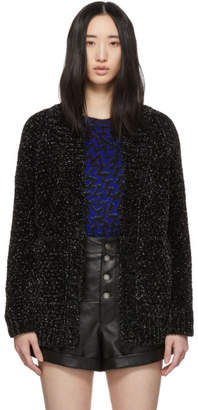 Saint Laurent Black and Silver Knit Chenille Long Cardigan