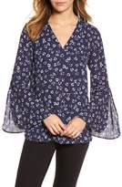 Chaus Ditsy Floral Print Bell Sleeve Blouse