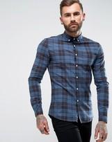 Asos Skinny Check Shirt In Navy