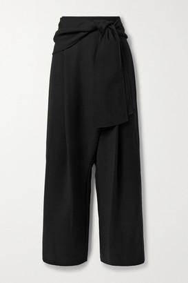 LE 17 SEPTEMBRE Belted Woven Wide-leg Pants - Black