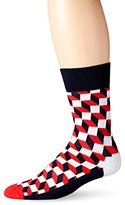 Happy Socks Men's Filled Optic Combed Cotton 1/2 Terry Crew Socks