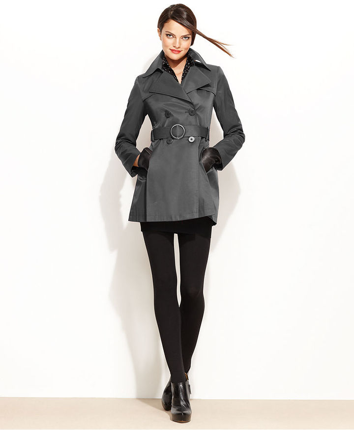 Via Spiga Coat, Cropped Flared Trench Raincoat