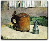 Canvas Art USA Wood Tankard and Metal Pitcher by Paul Gauguin - Gallery Wrapped Canvas Art Print - Ready to Hang