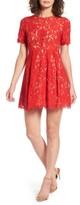 Lush Women's Pleated Lace Skater Dress