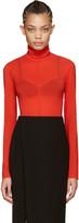 Nina Ricci Red Silk Turtleneck Bodysuit