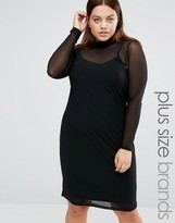 Junarose High Neck Bodycon Dress With Sheer Overlay