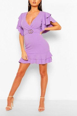 boohoo Ruffle Detail Belted Mini Dress