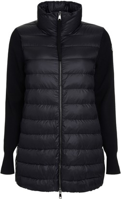 Moncler Knitted Sleeves Long Padded Jacket
