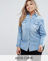 Asos Denim Boyfriend Shirt in Light Blue Wash