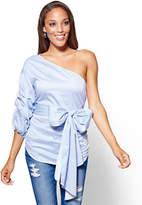 New York & Co. One-Shoulder Poplin Shirt - Blue Stripe