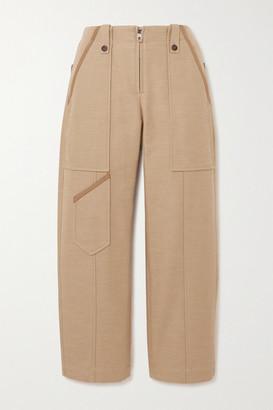 Chloé Cropped Linen And Cotton-blend Wide-leg Pants - Beige