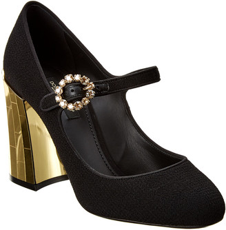 Dolce & Gabbana Mary Jane Metallic Chunky Leather Pump