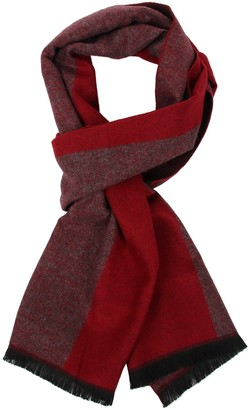Soul Young Long Cotton Scarf for Men - Warm Fringe Plaid Scarves With Luxurious Gift Box(Burgendy)