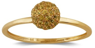 Artisan 18K Gold Ring With Pave Yellow Sapphire Bead