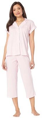 Lauren Ralph Lauren Cotton Rayon Jersey Knit Short Sleeve Notch Collar Dolman Capri Pants Pajama Set (Pink Stripe) Women's Pajama Sets