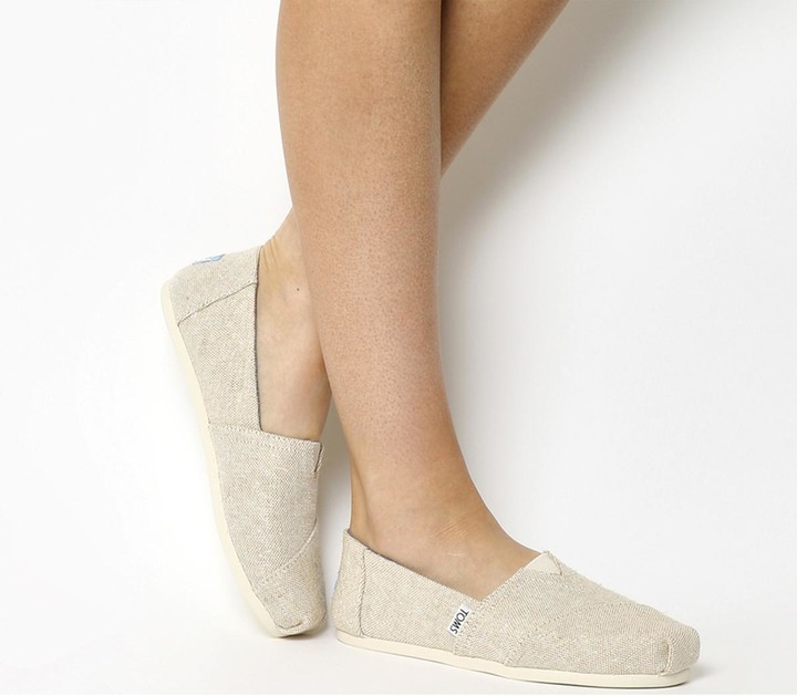 Toms Seasonal Classic Slip On Natural Metallic Burlap