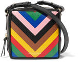 Sara Battaglia Cube Striped Textured-leather Shoulder Bag - Black