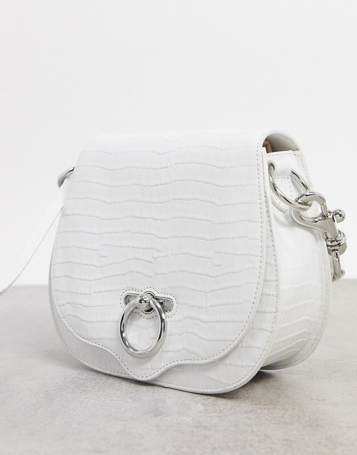 Thumbnail for your product : Rebecca Minkoff jean leather saddle crossbody bag in white