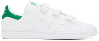 adidas White and Green Velcro Stan Smith Sneakers