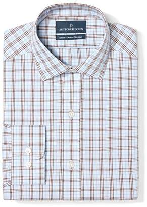 Buttoned Down Classic Fit Spread Collar Pattern Dress Shirt, (Blue/Brown Plaid)