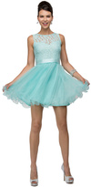 Dancing Queen Lovely Laced Illusion Sweetheart Neck Polyester Short Dress