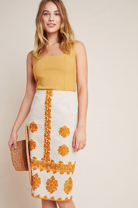 Anthropologie Verona Embroidered Pencil Skirt By in White Size 0