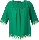 Etro embroidered trim blouse - women - Cotton/Spandex/Elastane - 42