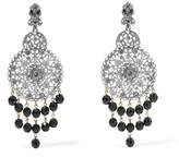 Oscar de la Renta Silver-tone, crystal and bead clip earrings