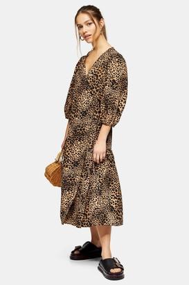 Topshop Womens Petite Animal Print Kimono Wrap Dress - Natural
