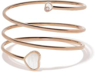 Chopard 18kt rose gold Happy Hearts diamond and mother-of-pearl twist bangle